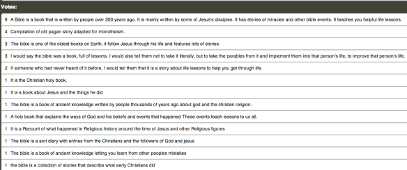 "Student responses to the question ""How would you explain the Bible to someone that had never heard of it"