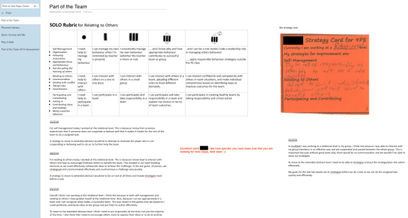 Example of a Yr9 student's OneNote workbook with feedback from the teacher