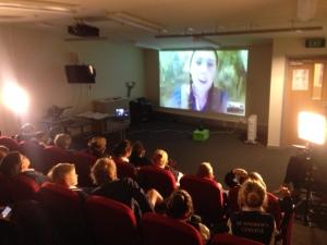 Students listening to Toba from Jorvik
