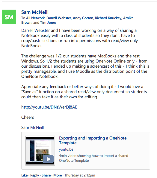 My post and screencast in Yammer