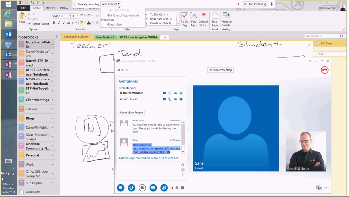 Screensharing via Lync with OneNote open in the background | StAC ...