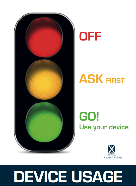 A simple poster that can be referenced during the class to help students know when device usage is appropriate or not.
