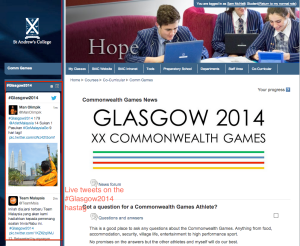 Live Twitter feed on the #Glasgow2014 hashtag