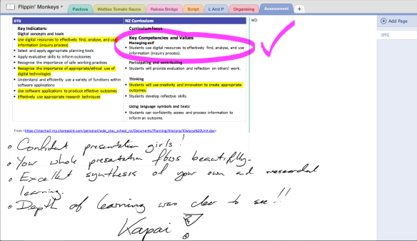 Feedback written by Mr Dekkers on his SurfacePro3 - available immediately to the students