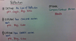 Solo Tasks: around the Law of Reflection with extension work on Moodle