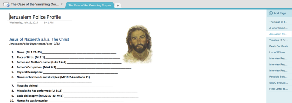 Students needed to use their Bibles to complete this police profile on the person of Jesus