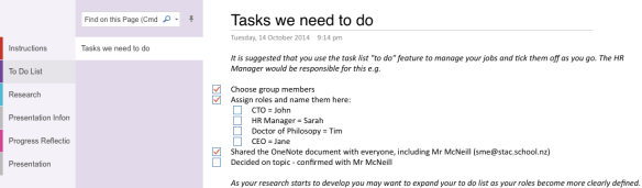 Example task list for students or organise and co-ordinate their inquiry