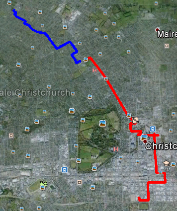 Red is the existing fibre on Papanui Road. Blue is the pathway of the new fibre down Normans Road