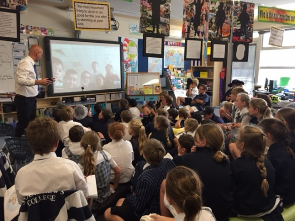 Students talking to a class on Sakhalin Island, Russia via Skype.