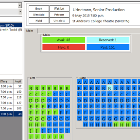 Ticket view for Reception staff showing booked and available tickets.