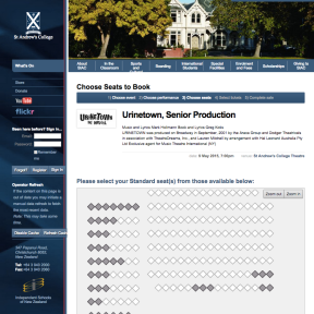 The corresponding online view for customers purchasing tickets at home.