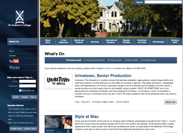 The PatronBase hosted solution for online ticketing accurately reflects the St Andrew's College branding.