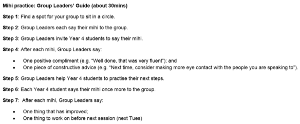 Mihi instructions