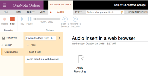 Recording audio directly into OneNote Online in a browser is a new feature of Microsoft