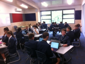 Students working hard on the task