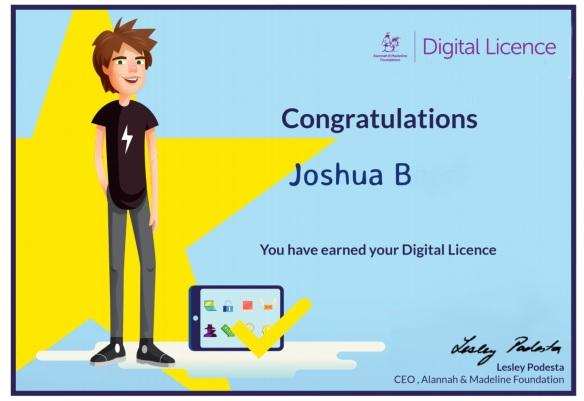 Digital Licence Certificate